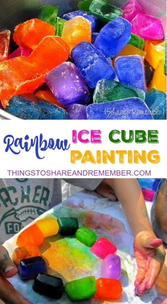 Rainbow Ice Cube Painting