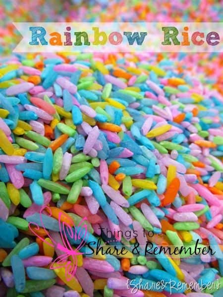 Rainbow Rice & Garden Sensory Play for preschoolers to engage their senses through play and discovery #ece #preschool #rainbow #sensoryplay #sensory #earlylearning