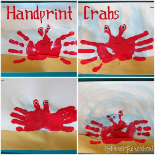 handprint crab art for preschoolers