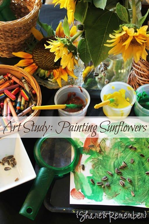 Preschool Art Study Painting Sunflowers