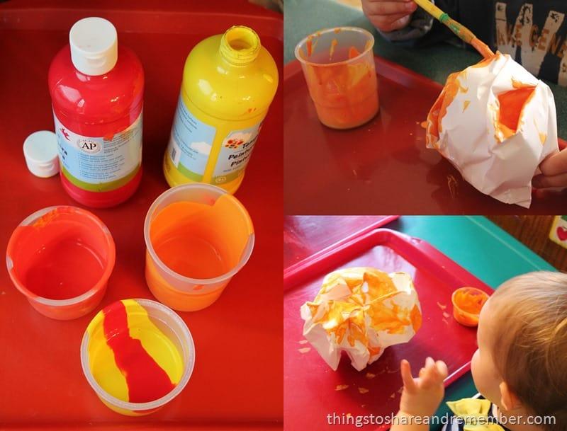 Painting Paper Pumpkins - orange paint