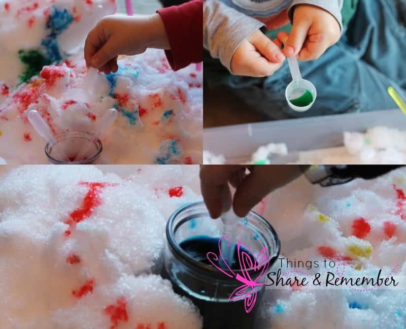 Winter Snow Bin Sensory Play in Preschool