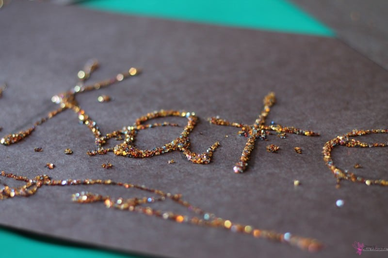 New Year Glitter Names - name writing in preschool