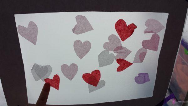 Valentine Tissue Paper Hearts Collage
