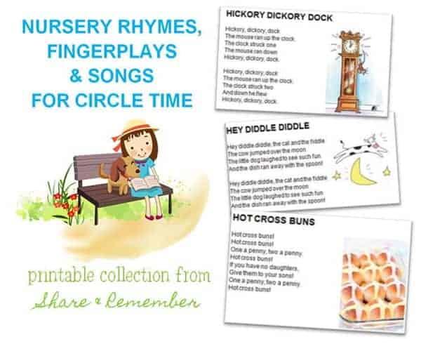 Nursery Rhymes, Fingerplays & Songs Printables