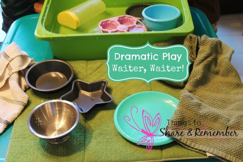 dramatic play amd sensory play - washing dishes and restaurant play