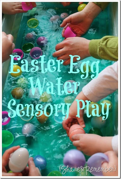 water play with plastic Easter eggs Easter Egg Water Sensory Play with colored water