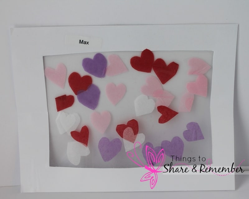 Framed Tissue Paper Hearts Collage