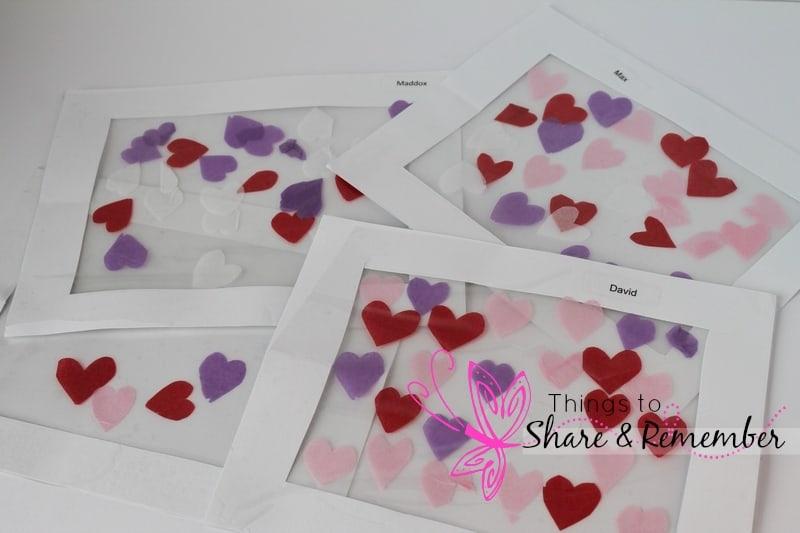 Valentine Tissue Paper Hearts - Preschool Art