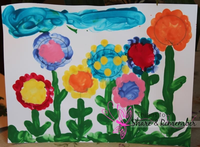 Flower Painting 3 Finger Paint Flower Garden Template
