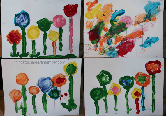 Finger paint flower garden template