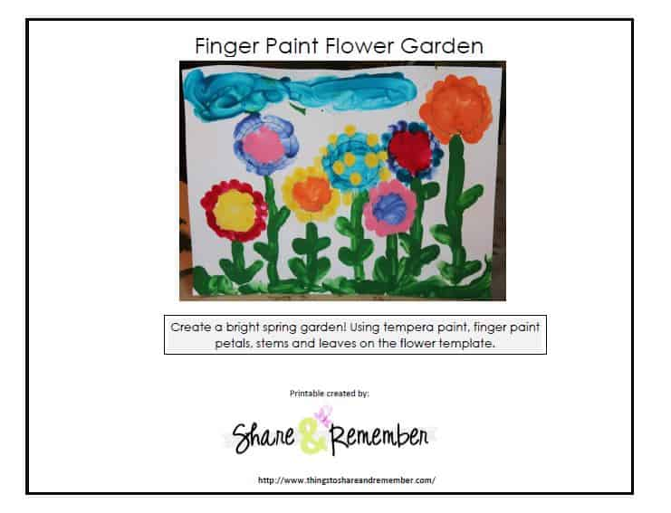 Finger paint flower garden template cover
