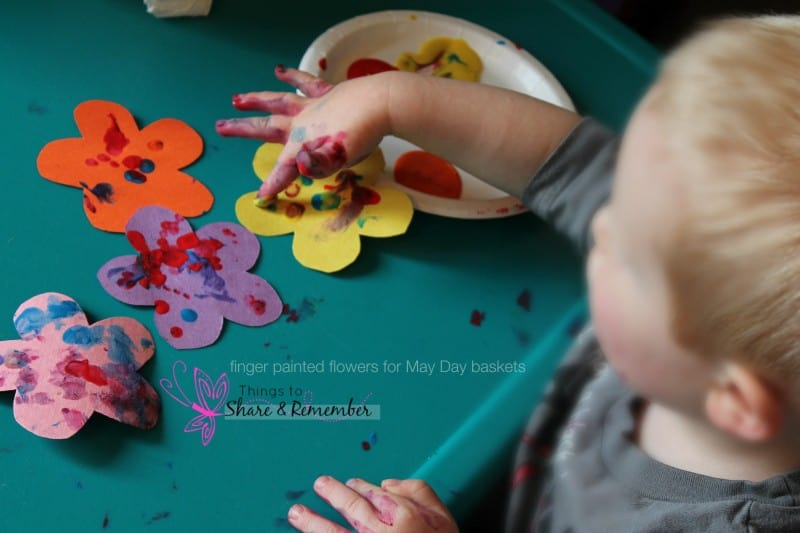 finger painting may day basket flowers