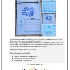 Handprint Calendar 2015 Printable