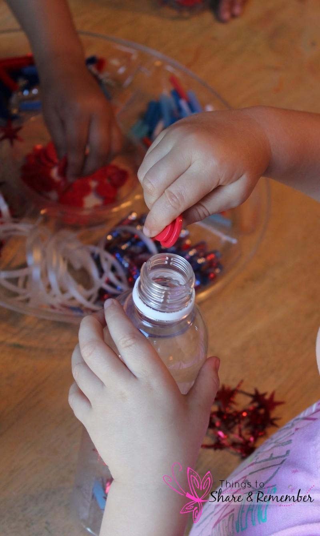 4th of July sparkle Bottles Filling