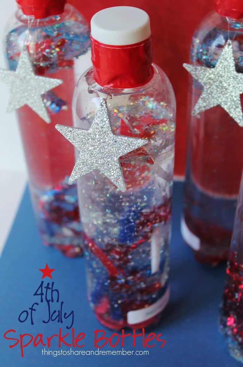 4th of July sparkle bottles