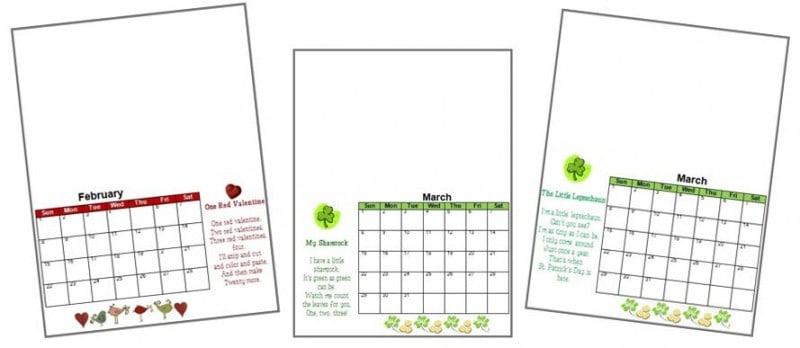 Handprint Calendar Template Printable