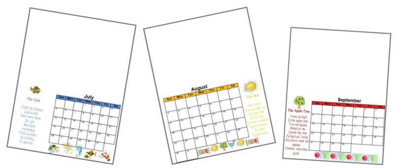 handprint calendar pages