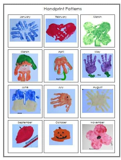 handprint calendar template printable preschool keepsake