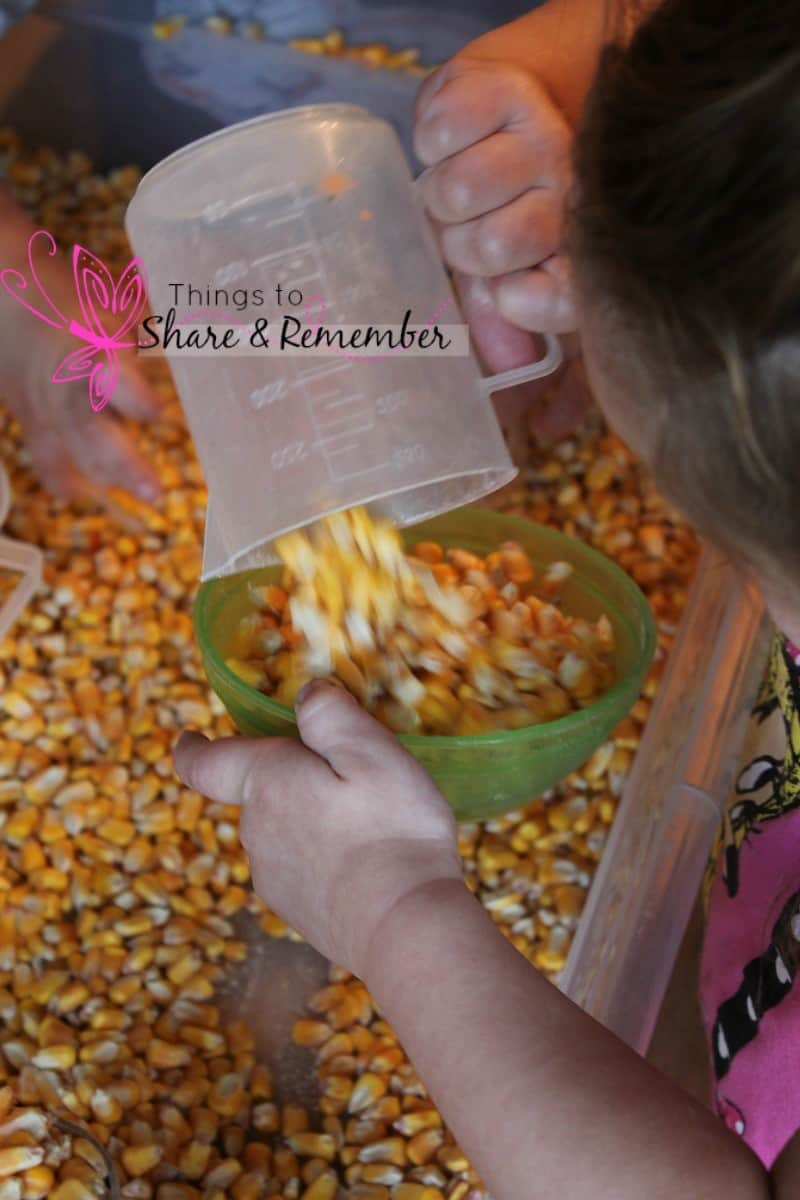scooping & pouring corn