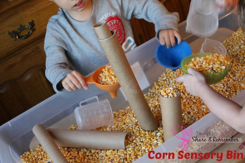 scooping & pouring corn with tubes