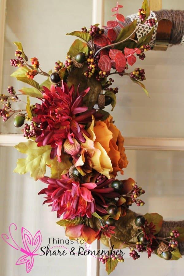 Yarn Wrapped Fall Floral Wreath
