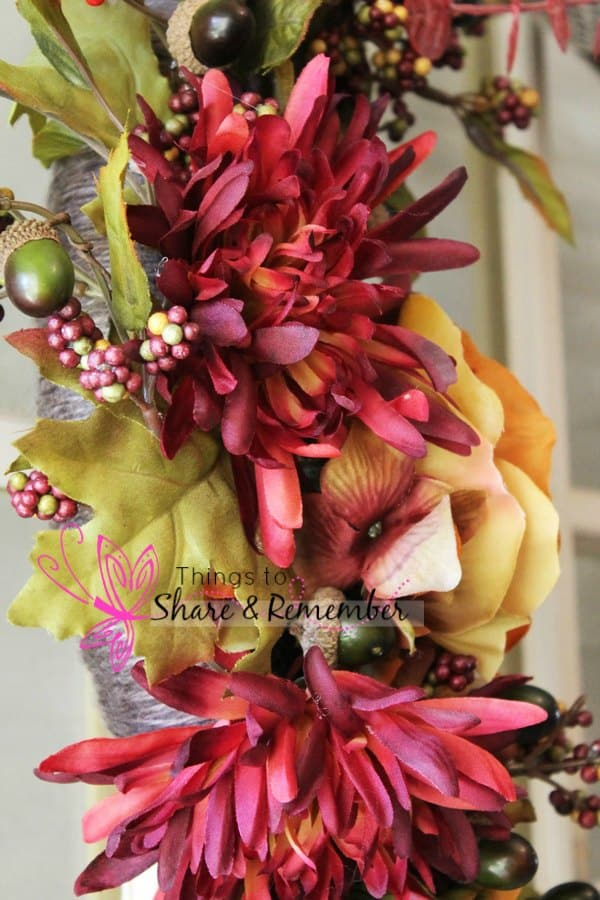 Yarn Wrapped Fall Floral Wreath