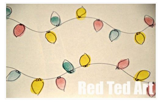 DIY fingerprint wrapping paper christmas lights - Red Ted Art