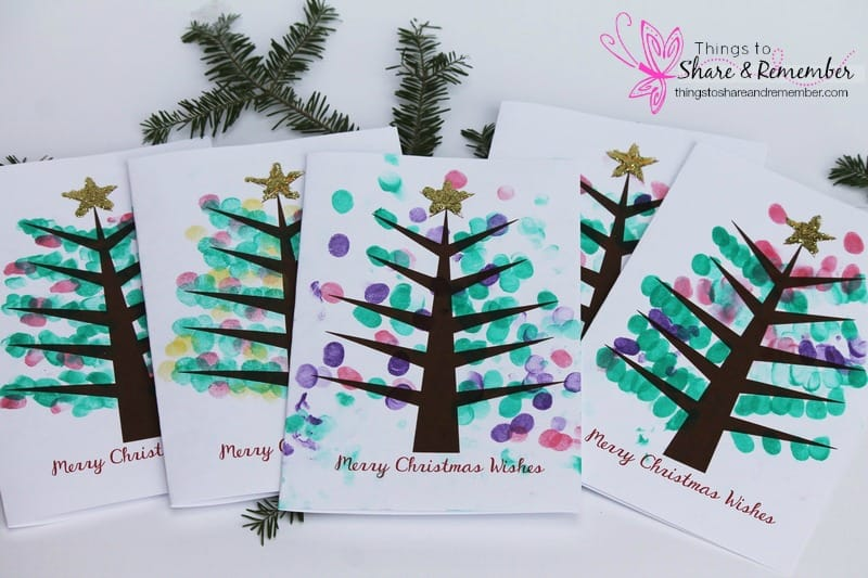Printable Fingerprint Christmas Tree Card