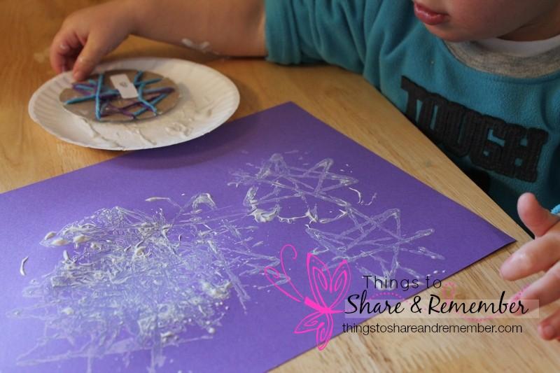 homemade snowflake stamp paintings