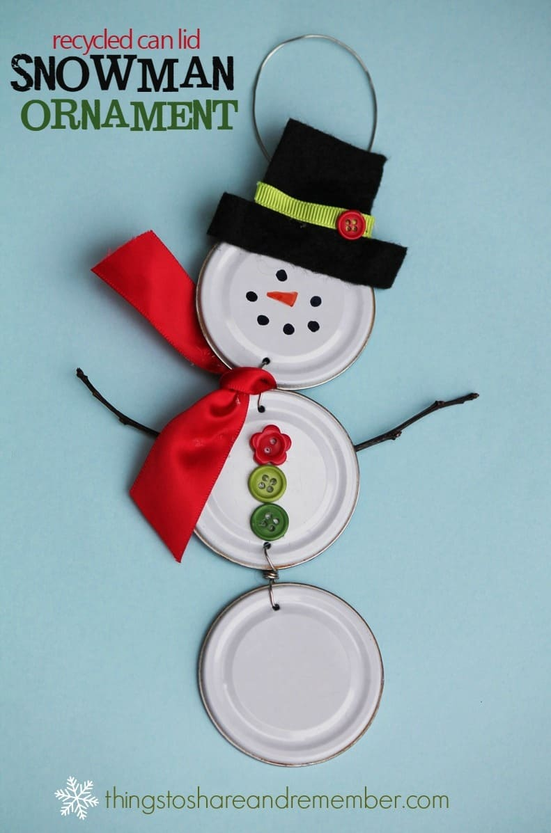 Recycled Can Lid Snowman Ornament - Share & Remember