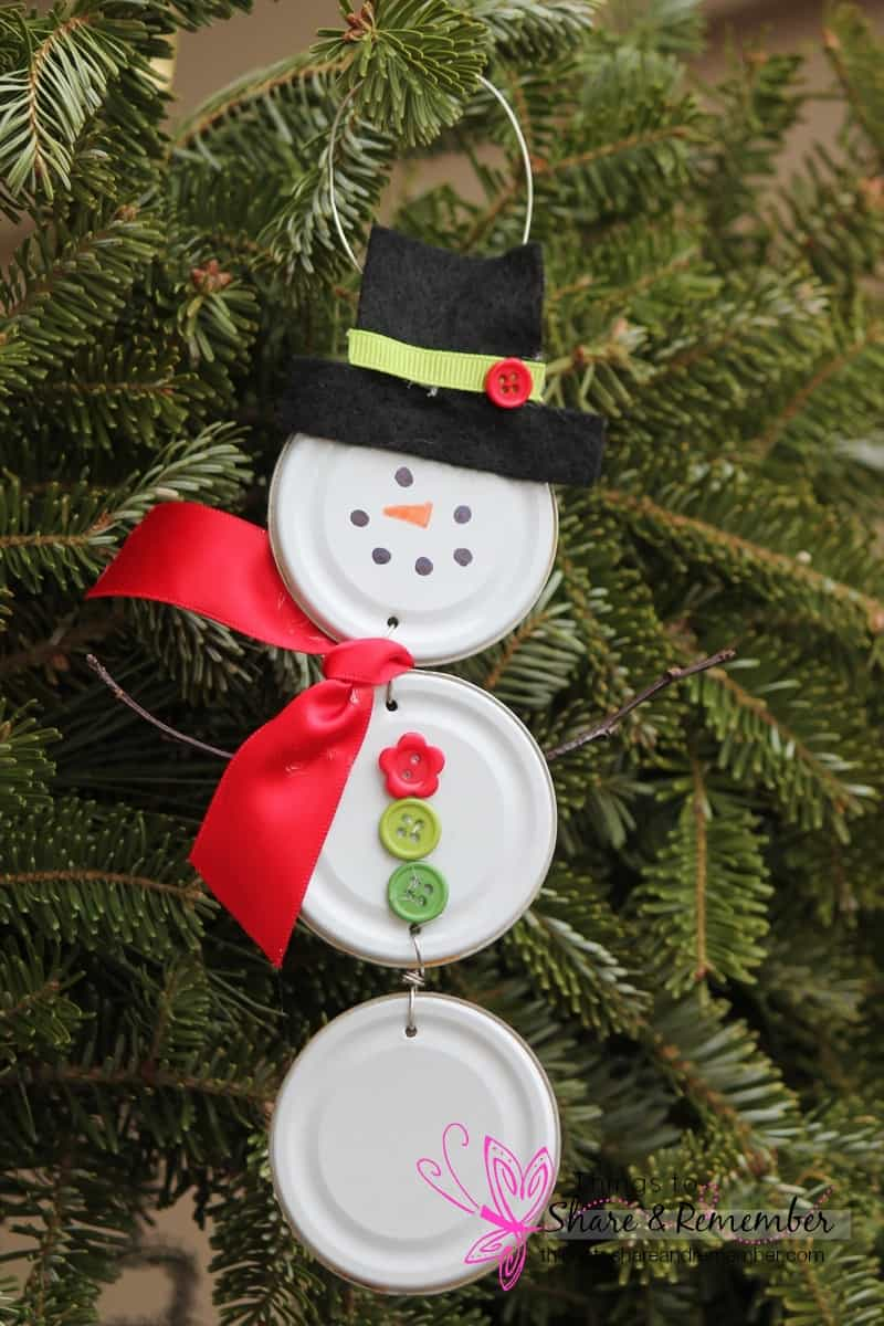 Recycled Can Lid Snowman Ornament