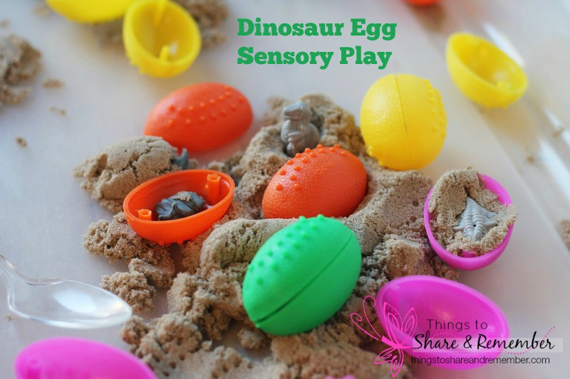 Dinosaur Egg Sensory Play - eggs, baby dinosaurs & kinetic sand!
