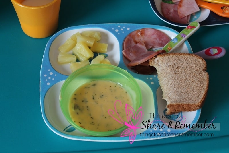 Cheesy Broccoli Soup & Ham, pineapple, ww bread, milk - Homemade & Healthy Child Care Lunches