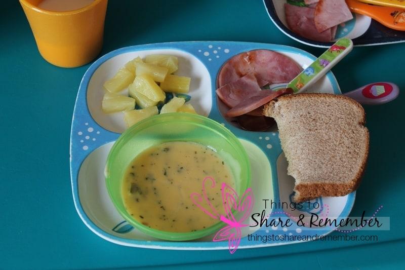 Cheesy Broccoli Soup & Ham, pineapple, ww bread, milk - Homemade & Healthy Child Care Lunches