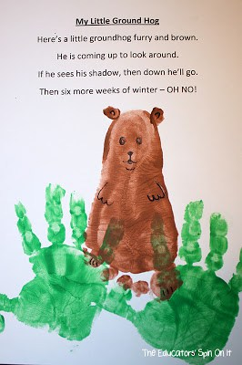 The Educator's Spin On It: Groundhog Day Hand Print Craft and Poem