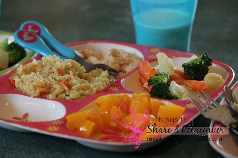 chicken rice peaches california blend vegs, milk Homemade & Healthy Child Care Lunches