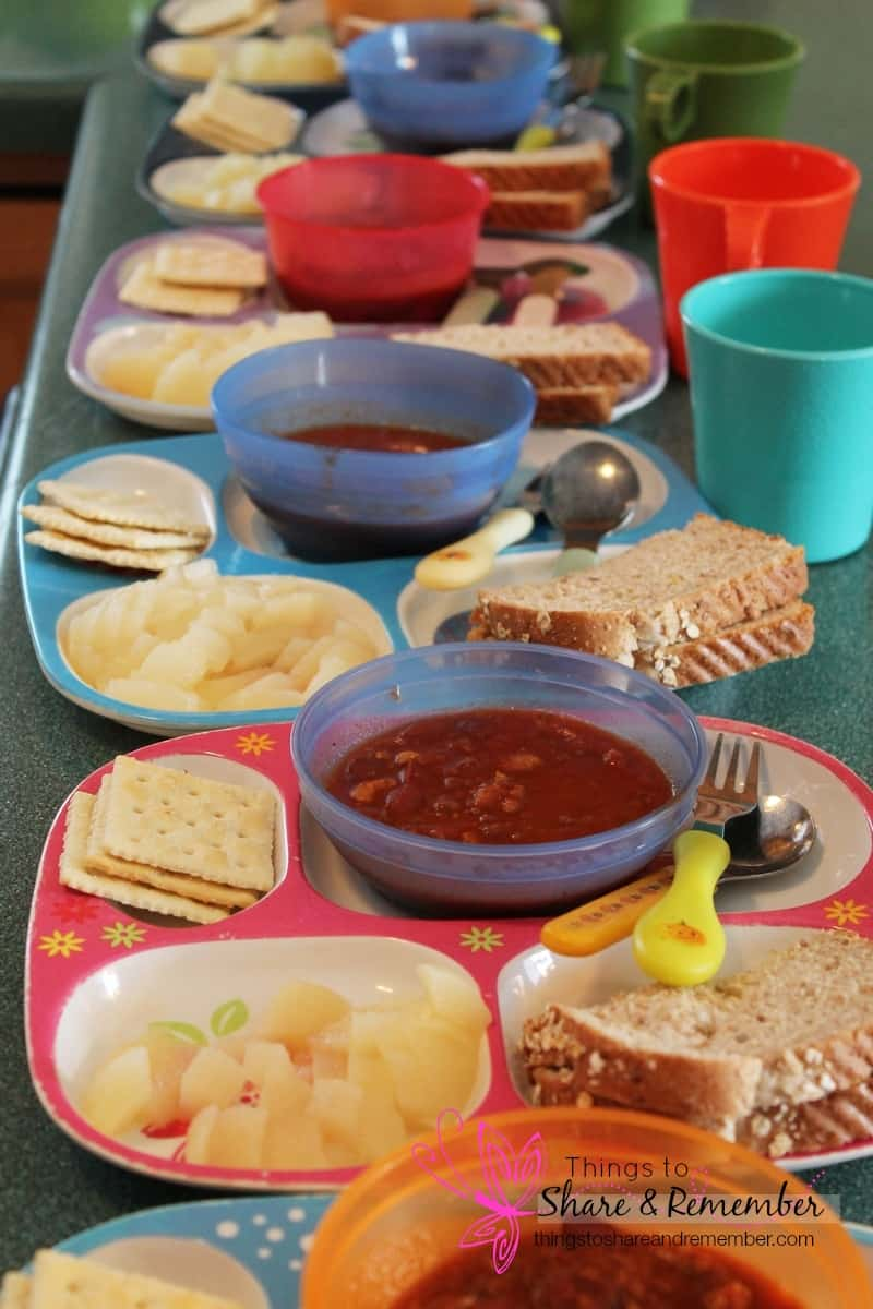 chili, pears, saltines/bread, milk - Homemade & Healthy Child Care Lunches