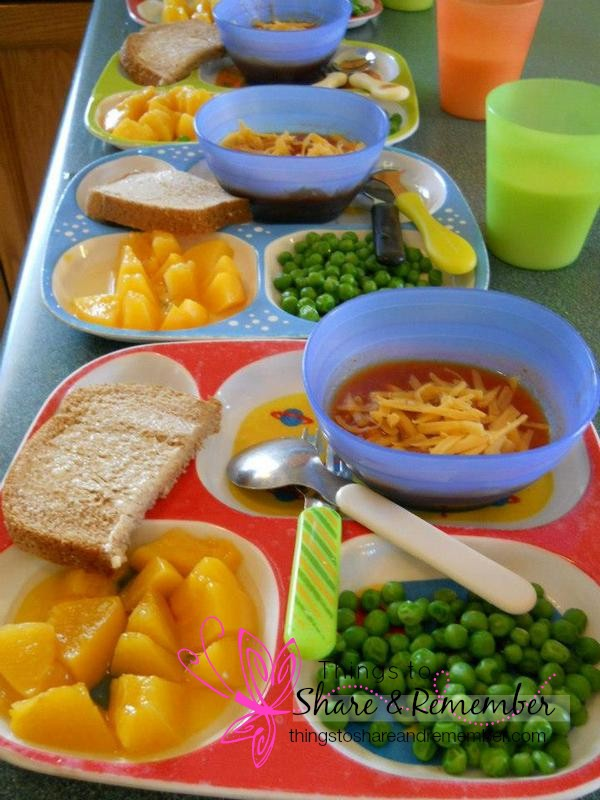chili peaches peas bread milk - Homemade & Healthy Child Care Lunches