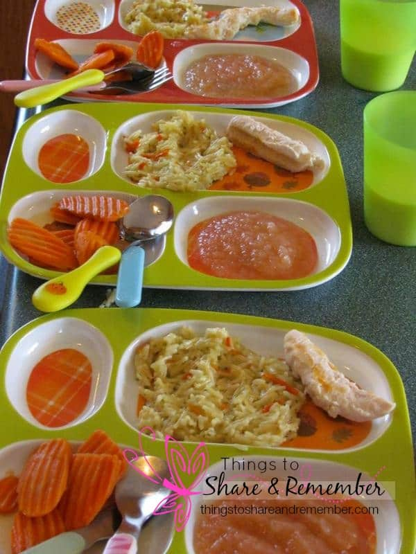 grilled chicken rice, applesauce, carrots, milk - Homemade & Healthy Child Care Lunches