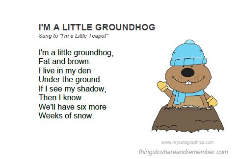 Groundhog Day Activities Printable Song Card
