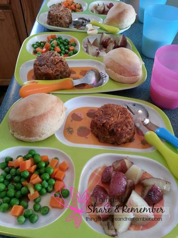 mini meatloaf, peas & carrots, roll, red potatoes, milk - Homemade & Healthy Child Care Lunches