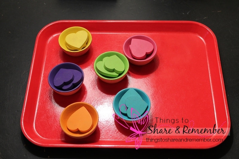 colored hearts sorting tray