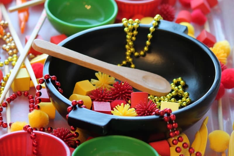 Chinese New Year wok and sensory bin materials