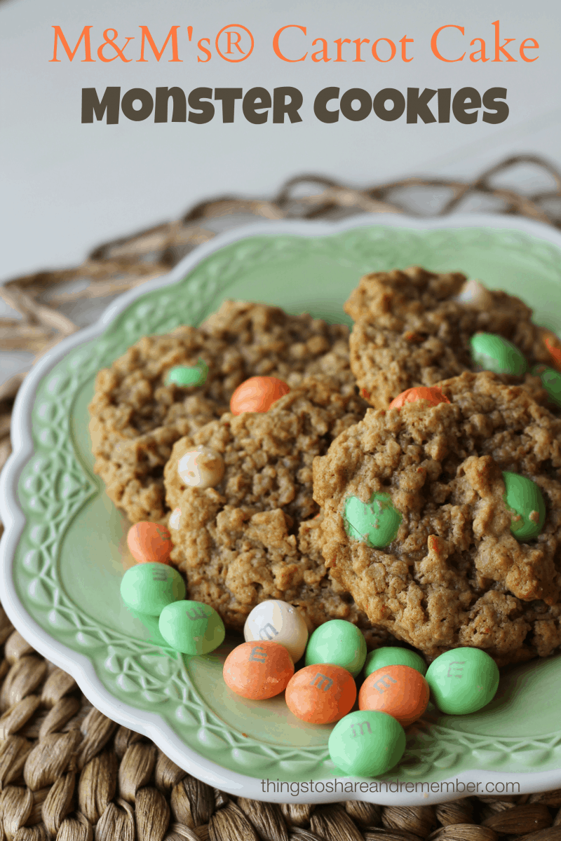 M&M's® Monster Cookies #MMsCarrotCake #CollectiveBias #AD If you love carrot cake you're sure to like these M&M's® Carrot Cake Monster Cookies! They are a combination of carrot cake flavor and white chocolate in a chewy, oatmeal monster cookie. The festive M&M's® Carrot Cake colors and flavor make them a perfect homemade treat for your Easter celebration!