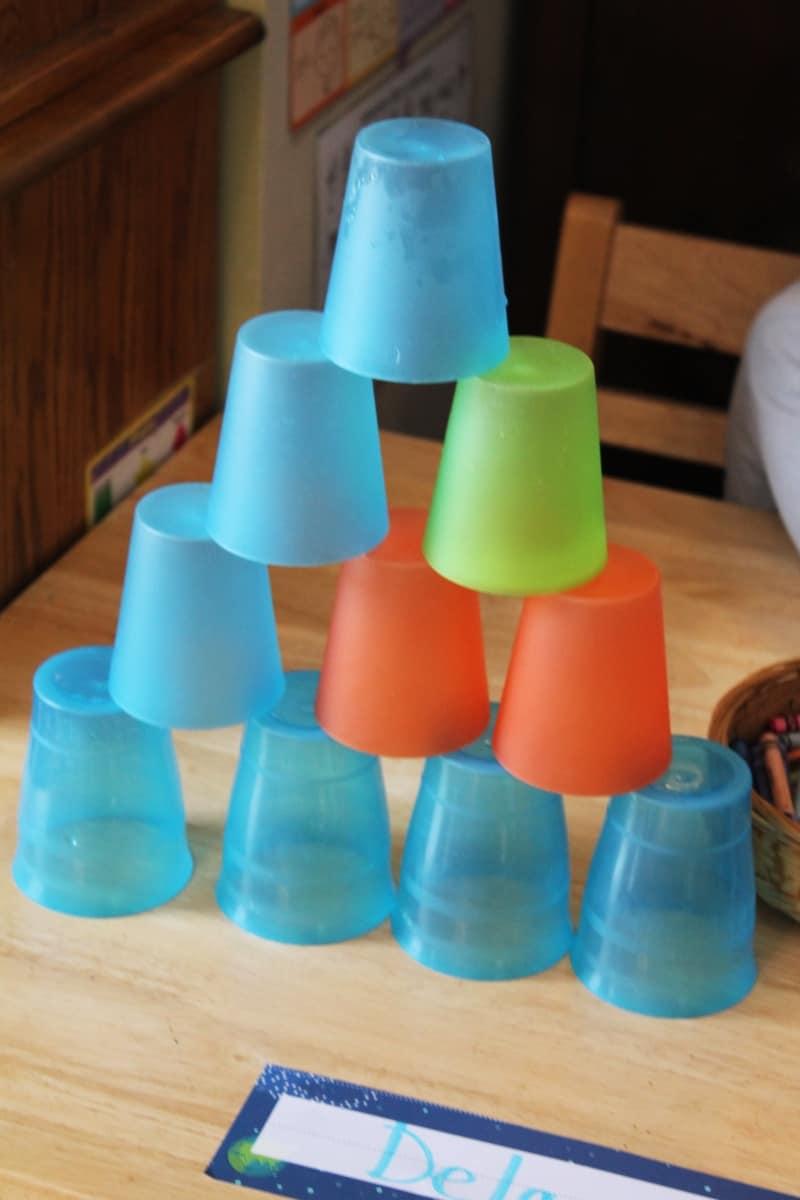 cup pyramids - preschool small world theme
