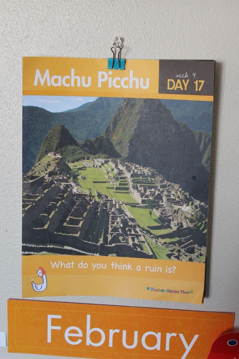 Learning about Machu Picchu in preschool