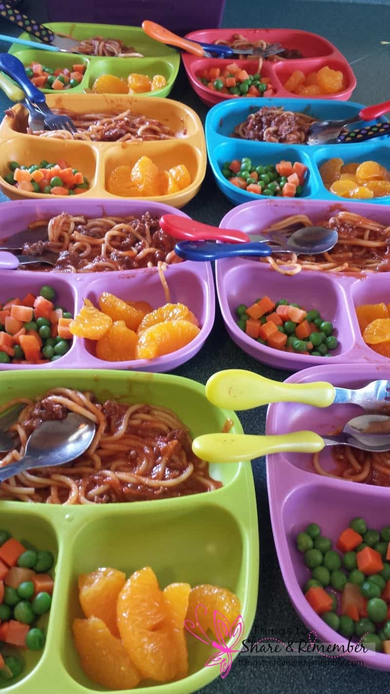 Spaghetti, mixed veg, fruit