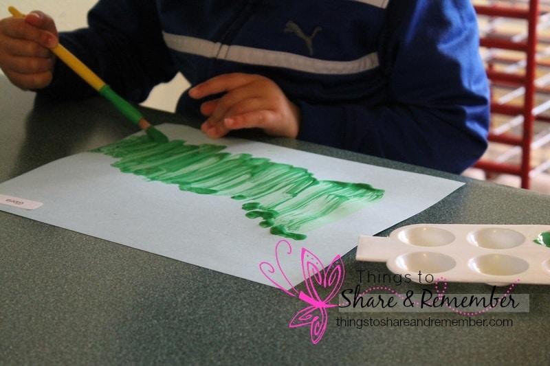 painting green grass poppy field