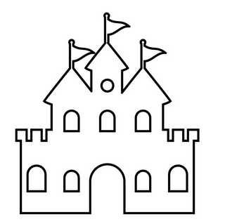 castle outline craft pattern for preschool art